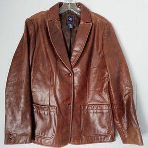 Vintage Gap Leather Blazer Jacket Size Medium